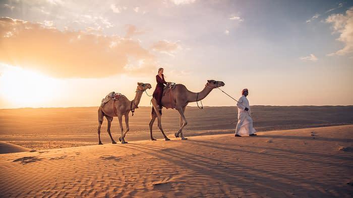 Canvas-Club-Kamelritt-Sonnenuntergang-Wüste-Oman