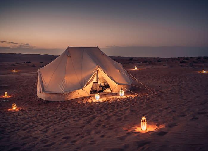 Canvas-Club-Familienzelt-Dämmerung-Wahiba-Wüste-Oman