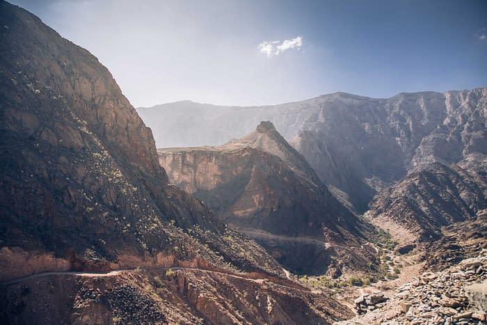 Hadschar-Gebirge-Straße-Panorama-Oman