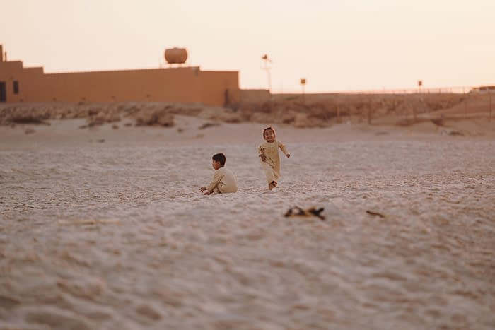 Bedouin Kids Playing in the Desert
